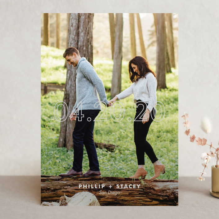 """""""Modern Minimalist"""" - Save The Date Cards in Snow by Sandra Picco Design."""