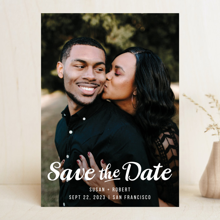 """""""Retro Script"""" - Rustic Save The Date Cards in Cotton by Hooray Creative."""