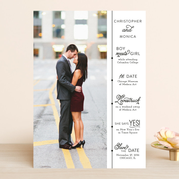"""""""Our Timeline"""" - Save The Date Cards in Onyx by Jessie Steury."""