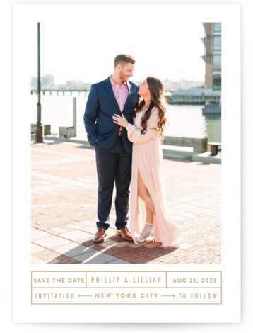 This is a landscape, portrait simple and minimalist, brown Save the Dates by Fine and Dandy Paperie called Between The Lines with Standard printing on Smooth Signature in Classic Flat Card format. This minimal, clean, save the date announcement is ...