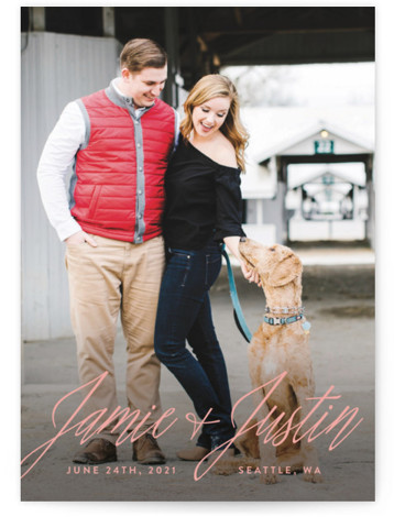 This is a landscape, portrait simple and minimalist, pink Save the Dates by Hooray Creative called All In The Names with Standard printing on Signature in Classic Flat Card format. Put the emphasis on your names with large elegant script. ...