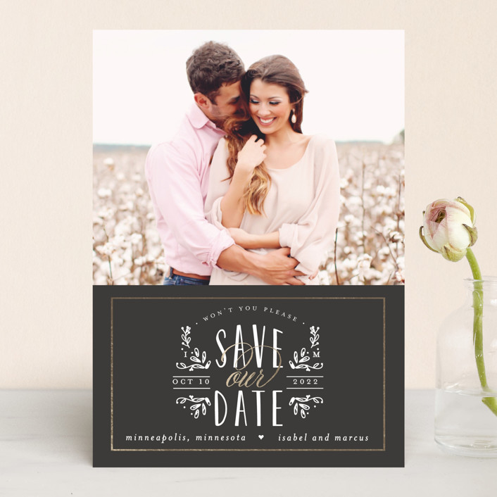 """Tiny Initials"" - Rustic Save The Date Cards in Charcoal by Susan Brown."