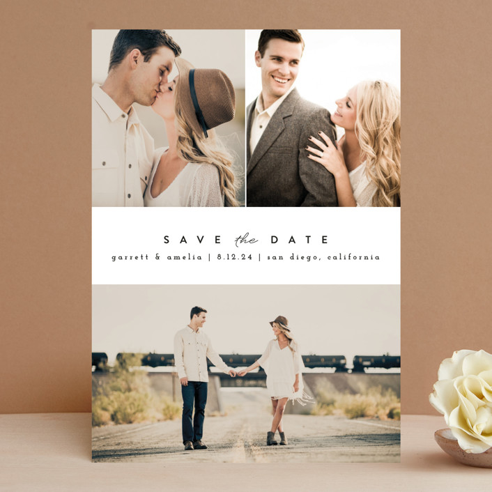 """""""Simple Date"""" - Save The Date Cards in Frosting by peony papeterie."""