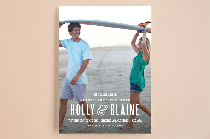 save the date card with surfboard