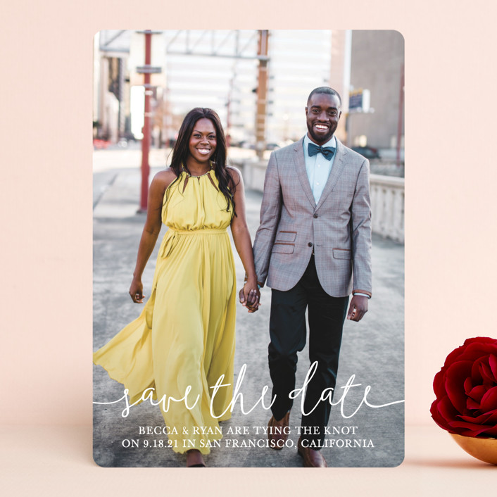 """""""Boho Love"""" - Save The Date Cards in Lily by Christine Taylor."""