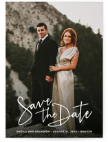 This is a white save the date by Hooray Creative called Stylish Script with standard printing on smooth signature in standard.