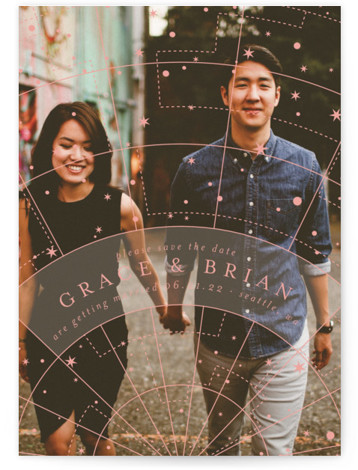 This is a landscape, portrait modern, pink Save the Dates by Liz Conley called Written in the Stars with Standard printing on Smooth Signature in Classic Flat Card format. This full bleed photo design features a vintage star chart above ...