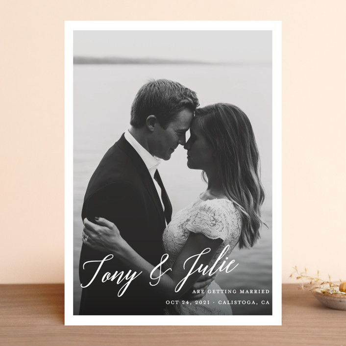 """""""All in the Name"""" - Save The Date Cards in Pearl by Kaydi Bishop."""