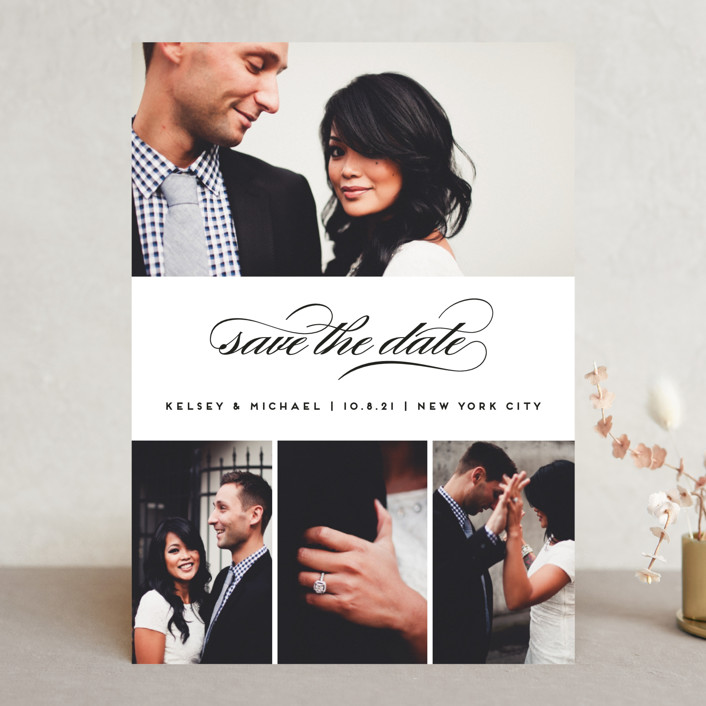 """""""Centered Script"""" - Save The Date Cards in Noir by Kimberly FitzSimons."""