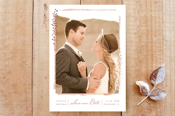 """Sparkled Frame"" - Bohemian Save The Date Cards in Blush by Petra Kern."