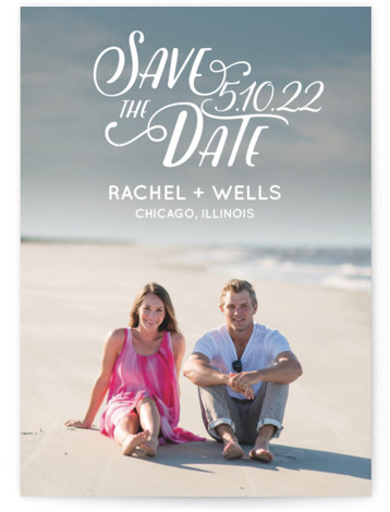 This is a landscape, portrait bohemian, white Save the Dates by Erika Firm called Wyoming with Standard printing on Signature in Classic Flat Card format. This simple type overlay helps couples show off their favorite engagement photo in a fun ...