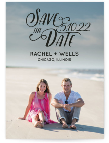 This is a landscape, portrait bohemian, black Save the Dates by Erika Firm called Wyoming with Standard printing on Signature in Classic Flat Card format. This simple type overlay helps couples show off their favorite engagement photo in a fun ...