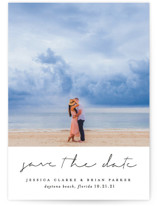 This is a black save the date by Sara Hicks Malone called Noted with standard printing on smooth signature in standard.