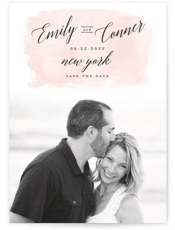 This is a landscape, portrait painterly, pink Save the Dates by Susan Brown called An Angle with Standard printing on Smooth Signature in Classic Flat Card format. Pretty script and watercolor wash on this single photo save the date.