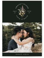 This is a yellow save the date by Susan Moyal called Wild Flowers with standard printing on smooth signature in standard.