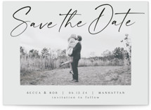 This is a grey save the date by AK Graphics called Flash Dance with standard printing on recycled in standard.