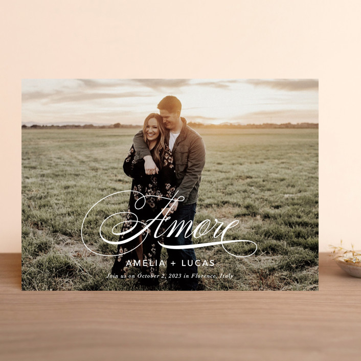 """giorno dell'amore"" - Save The Date Cards in Opal by Fig and Cotton."