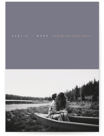 This is a portrait modern, simple and minimalist, grey Save the Dates by kelli hall called Polished with Standard printing on Signature in Classic Flat Card format. Delicate text on a rich colorfield for a careful counterpoint to a tinted ...