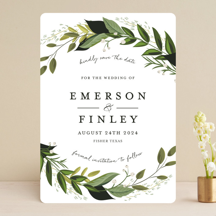 """""""Vines of Green"""" - Save The Date Cards in Fern by Susan Moyal."""