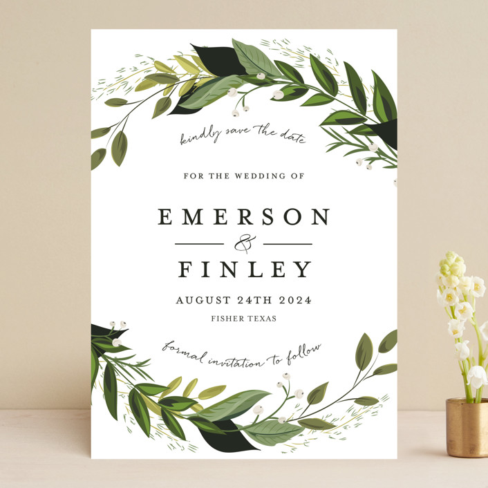 """Vines of Green"" - Save The Date Cards in Fern by Susan Moyal."