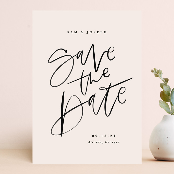 """Brushpen"" - Save The Date Cards in Cream by Kristen Smith."
