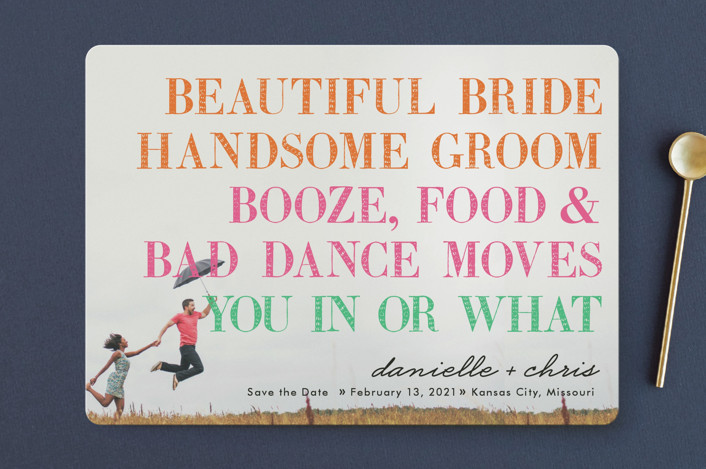 """You In or What?"" - Whimsical & Funny, Modern Save The Date Cards in Tangerine by hi-lighter inc.."