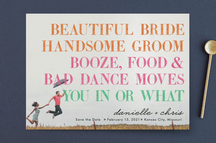 """You In or What?"" - Save The Date Cards in Tangerine by hi-lighter inc.."