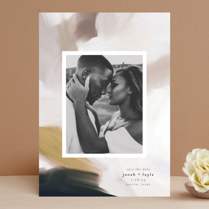 """Painted Romance"" - Save The Date Cards in Harvest by Melanie Severin."
