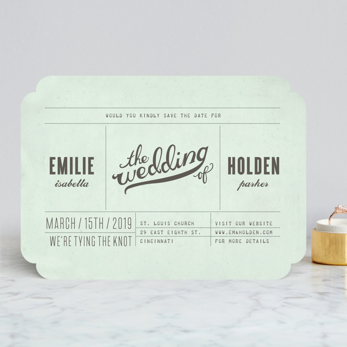 """Mr. Laurence"" - Bold typographic, Modern Save The Date Cards in Mint by Moglea."
