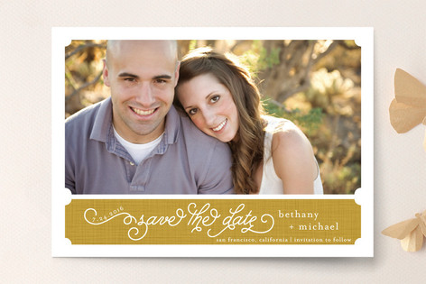 Linen Label Save The Date Cards