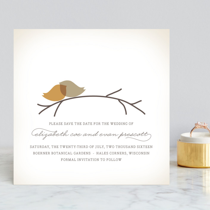 """Nestled"" - Save The Date Cards in Pumpkin Spice by Design Lotus."