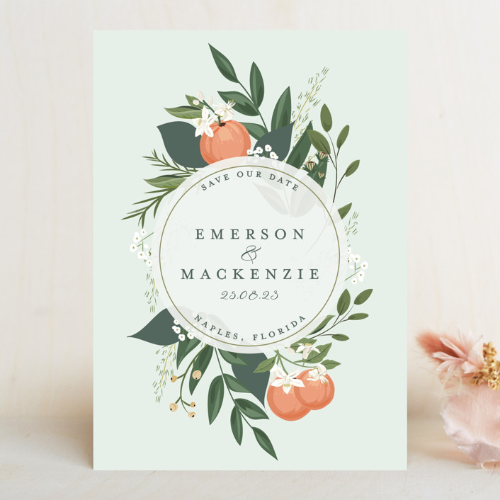 """""""Orange Blossoms"""" - Save The Date Cards in Pearl by Susan Moyal."""