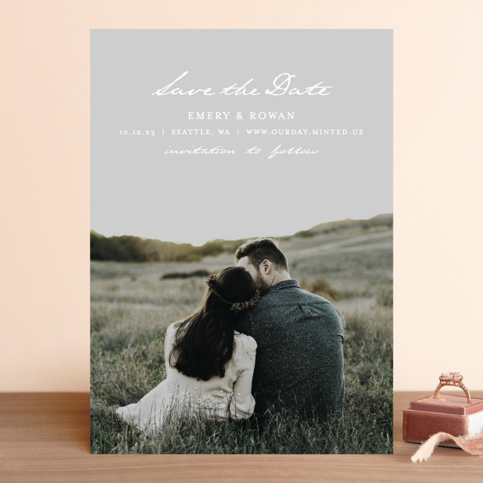 """Ethereal Glow"" - Save The Date Cards in Snow by AK Graphics."