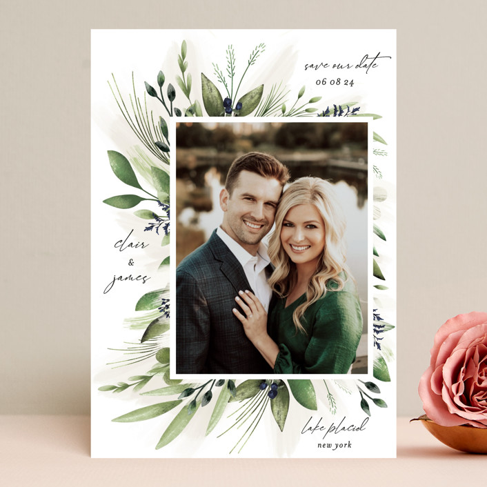 """""""Nature Love"""" - Save The Date Cards in Navy by Susan Moyal."""