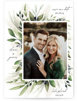 This is a blue save the date by Susan Moyal called Nature Love with standard printing on signature in standard.