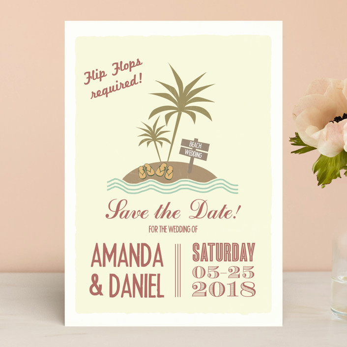 """Flip Flops Required"" - Bold typographic, Beach Save The Date Cards in Rust by Designkandy."