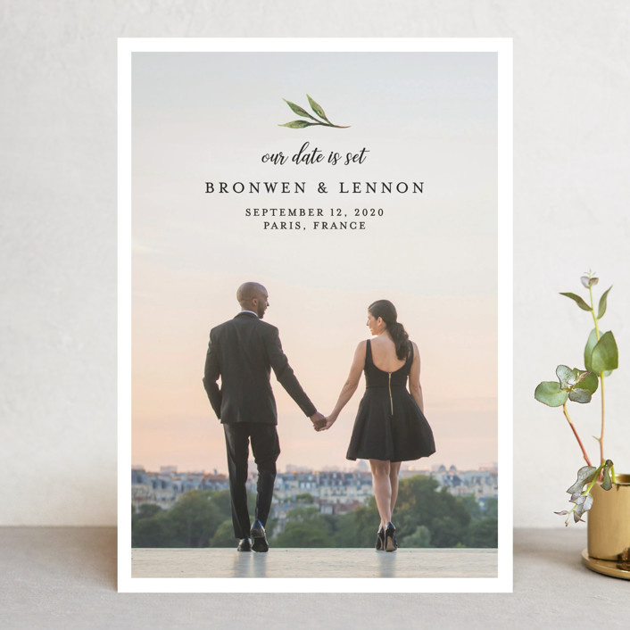 """""""Botanical Beauty"""" - Save The Date Cards in Sage by Paula Pecevich."""