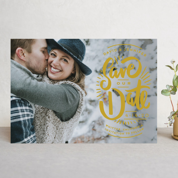 """Marker Letters"" - Hand Drawn Save The Date Cards in Pearl by Shiny Penny Studio."