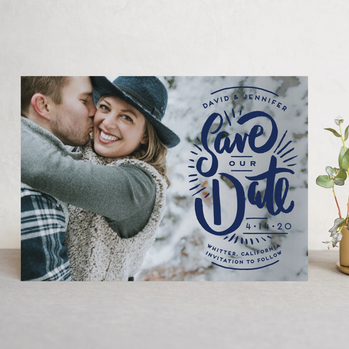 """""""Marker Letters"""" - Hand Drawn Save The Date Cards in Pearl by Shiny Penny Studio."""
