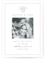 This is a white save the date by Amy Kross called Simple Edge with standard printing on doublethick in standard.