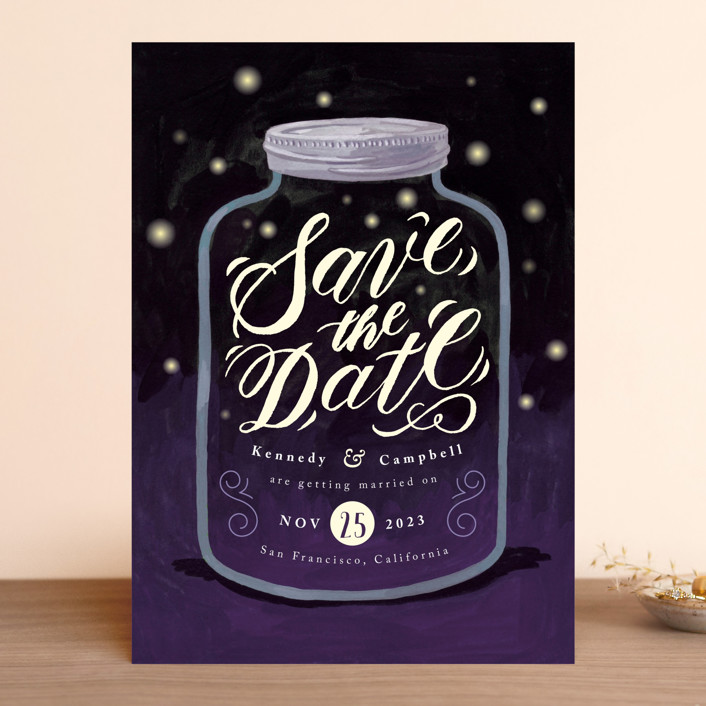"""Firefly Mason Jar"" - Rustic Save The Date Cards in Midnight by Four Wet Feet Studio."