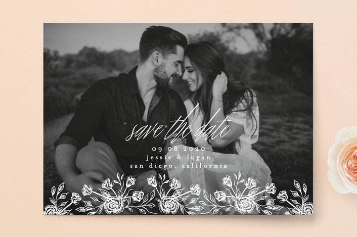 """""""Floral Bed"""" - Save The Date Cards in Frost by Phrosne Ras."""
