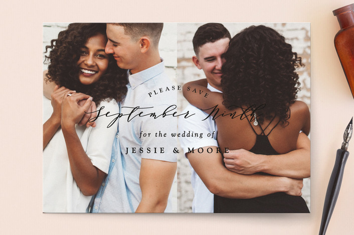 """New Style"" - Save The Date Cards in Onyx by Owl and Toad."