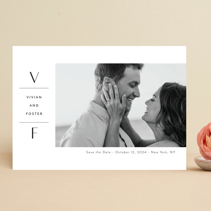 """Initial Attraction"" - Save The Date Cards in Ebony by Kaydi Bishop."