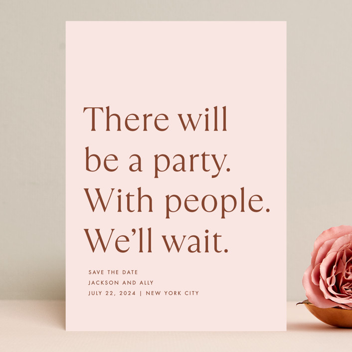 """""""There Will Be a Party"""" - Funny Save The Date Cards in Terracotta by Amy Payne."""