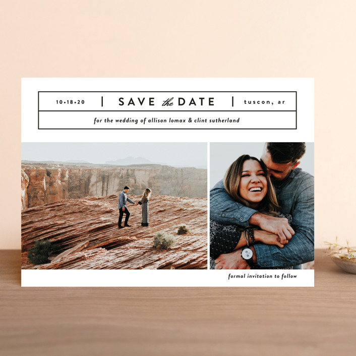"""""""Cinematic"""" - Save The Date Cards in Dove by Jessica Ogden."""