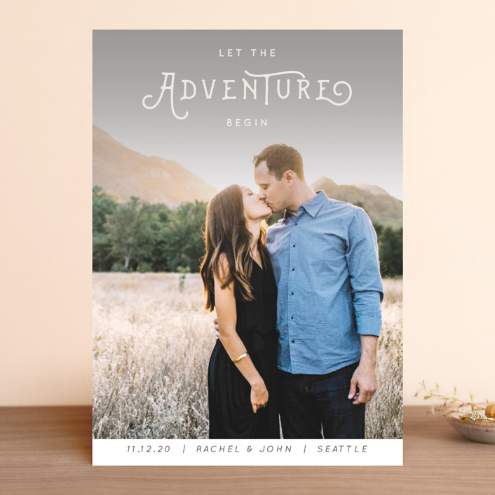 """The Adventure"" - Whimsical & Funny, Bohemian Save The Date Cards in Slate by Kasia Labocki."