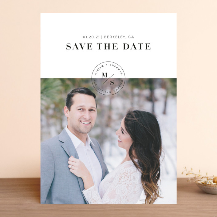 """""""Simple Stamp"""" - Save The Date Cards in Ivory by Becca Thongkham."""