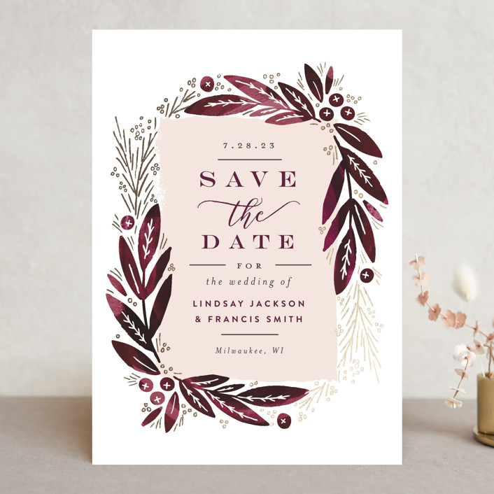 """""""Leaf Frame"""" - Save The Date Cards in Midnight Blue by Alethea and Ruth."""