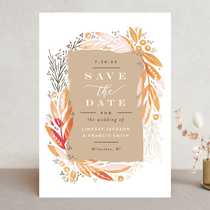 """Leaf Frame"" - Save The Date Cards in Midnight Blue by Alethea and Ruth."